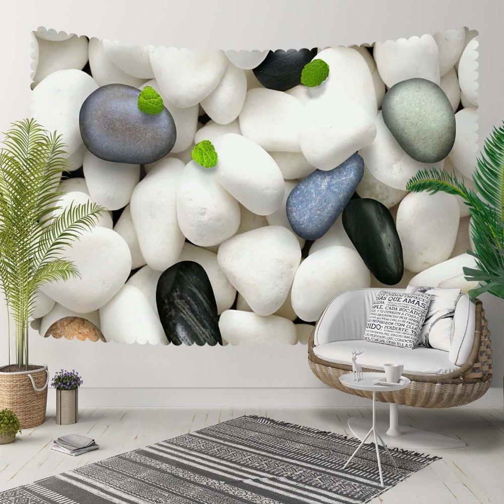 Autre noir gris blanc galets pierres vert feuille 3D impression décorative Hippi bohème tenture murale paysage tapisserie mur Art