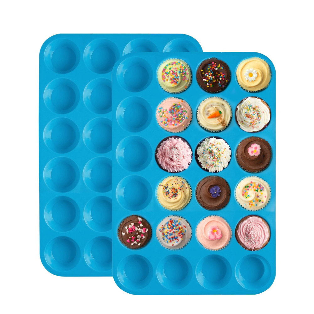24 Grids Cake Mold Food Grade Silicone Soap Cookies Cupcake Bakeware Pan Tray Mould Home Mini Muffin Cup