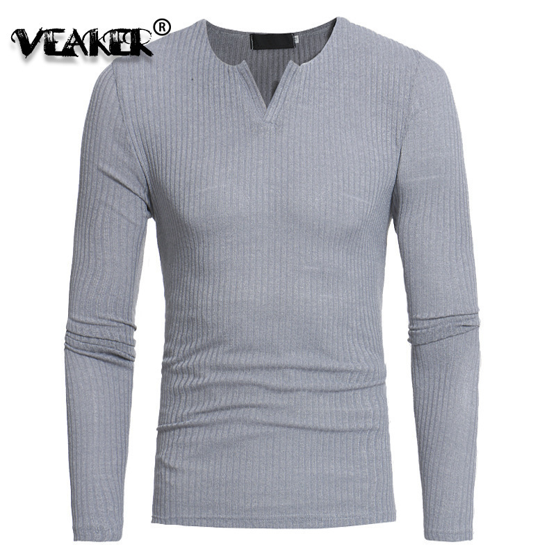 Pullover Sweaters Slim-Fit V-Neck Knitted Long-Sleeve Male Autumn Men's Striped Casual