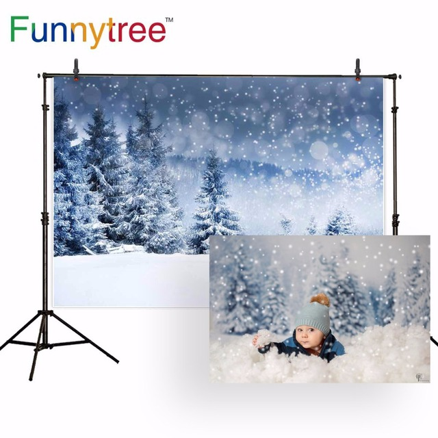 Funnytree backdrop for photographic studio winter snow forest pine Christmas nature view bokeh background photobooth photocall