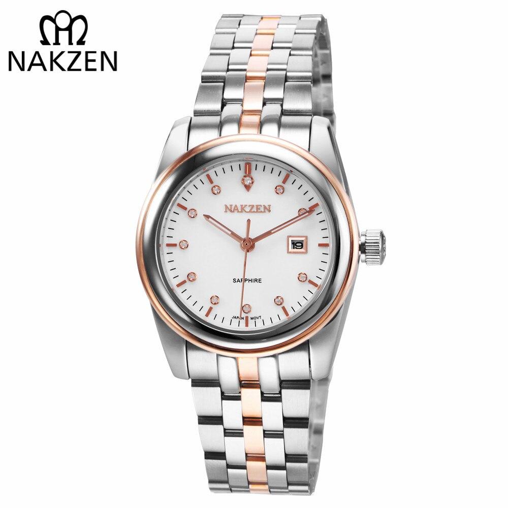 NAKZEN Womens Gold Luxury Quartz Diamond Watch Calendar Display Women Full Steel Wrist Watch Female Clock