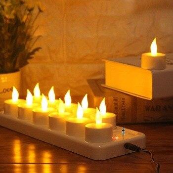 Беспламенные Свечи с перезаряжаемыми светодиодными свечами с мерцающим пламенем, Чайные свечи для свадебного декора, Чайные свечи, светоди