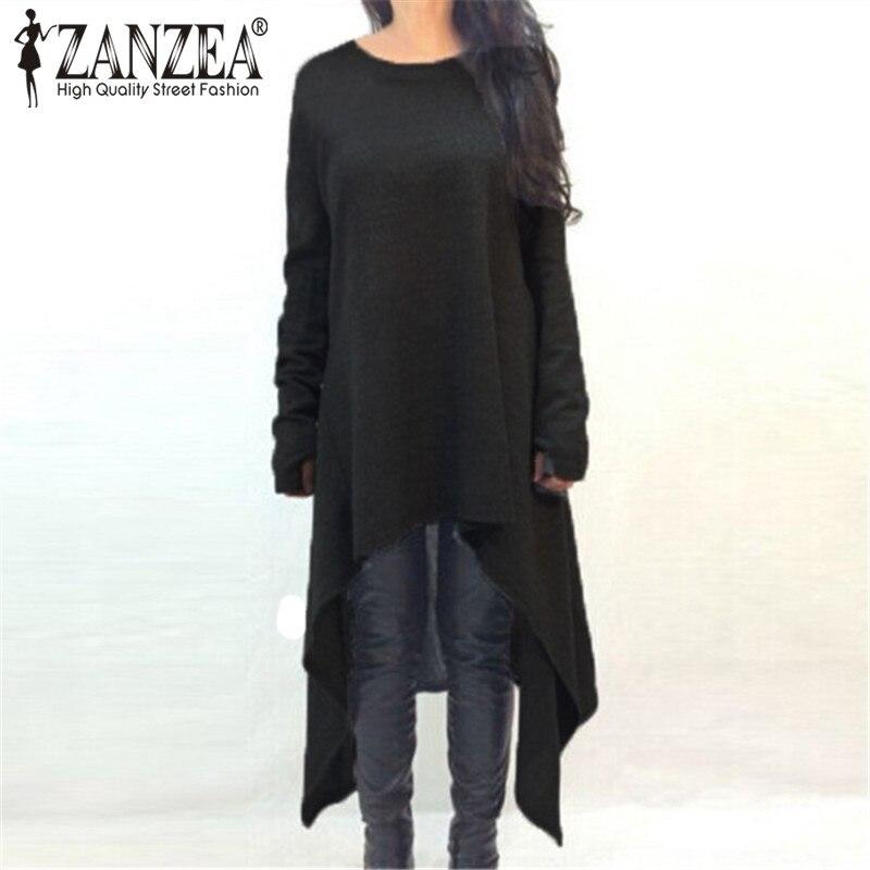 ZANZEA Plus Size Women Dresses 2018 Autumn Long Sleeve Dress O Neck Knitted Sweater Irregular Hem Casual Dress Vestidos 7 Color