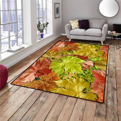 Else Green Brown Red Plane Tree Leafs 3d Pattern Print Non Slip Microfiber Living Room Decorative Modern Washable Area Rug Mat