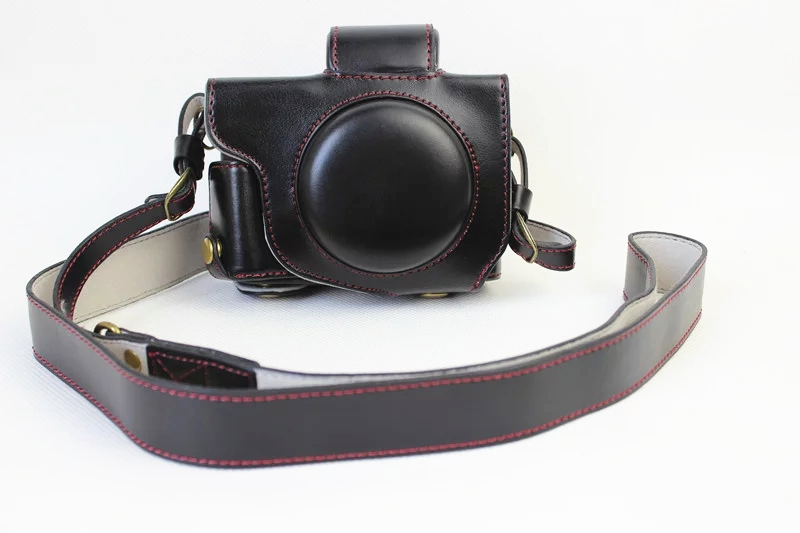 New Luxury PU Leather Video camera case bag for Canon Powershot G5X With Strap Open battery 3 Color