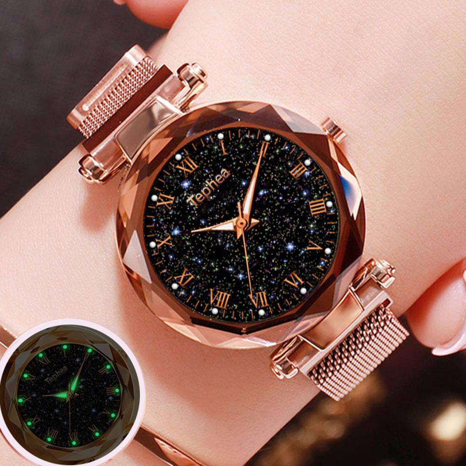 2019 panie zegarek na rękę Starry Sky magnetyczne kobiety oglądać Luminous luksusowe wodoodporna kobiet zegarek dla relogio feminino Reloj Mujer 1