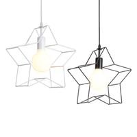Nordic pendent licht retro Stern eisen käfig schwarz/weiß E27/E26 pendent lampe kronleuchter loft restaurant lichter bar kunst AC95 260V-in Pendelleuchten aus Licht & Beleuchtung bei