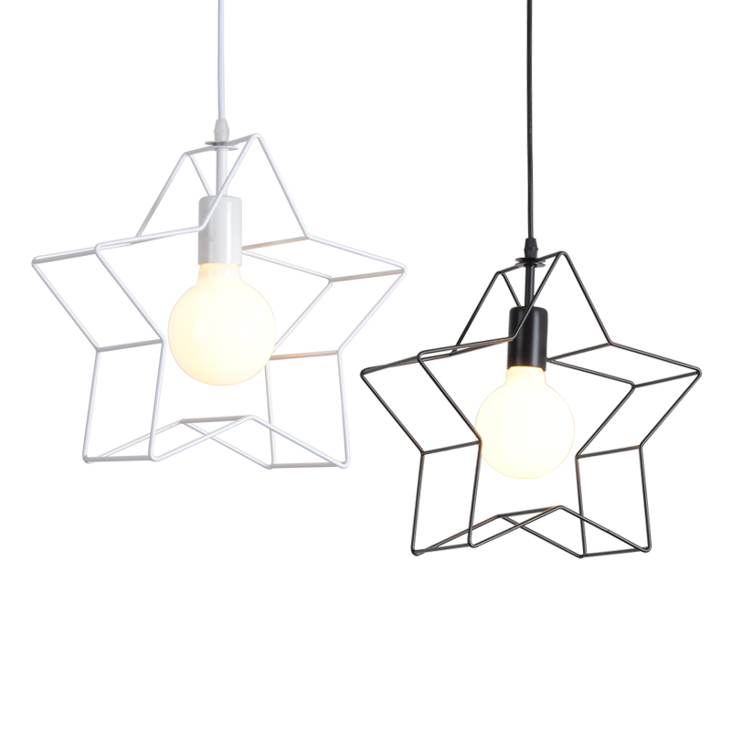 Nordic pendent light retro Star iron cage black/white E27/E26 pendent lamp chandeliers loft restaurant lights bar art AC95-260VNordic pendent light retro Star iron cage black/white E27/E26 pendent lamp chandeliers loft restaurant lights bar art AC95-260V