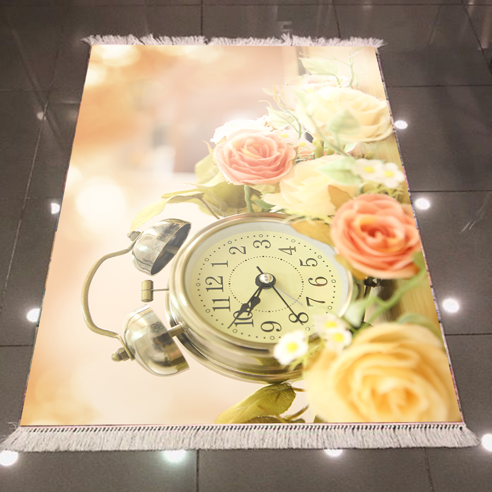 Else Vintage Time Clocks Yellow Pink Roses Green Leaf 3d Microfiber Anti Slip Back Washable Decorative Kitchen Area Rug Carpet
