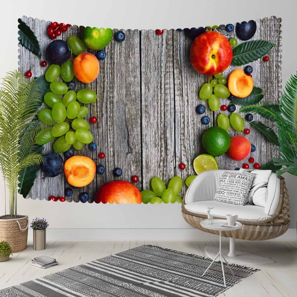Else Gray Wood Green Grapes Orange Peach Fruits 3D Print Decorative Hippi Bohemian Wall Hanging Landscape Tapestry Wall Art
