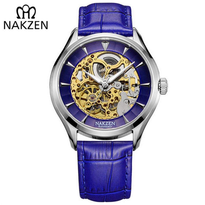 NAKZEN Luxury Mens Automatic Mechanical Watches Hollow Engraving Leather Self Winding Wristwatch Relojes Mecanicos Limited Sale