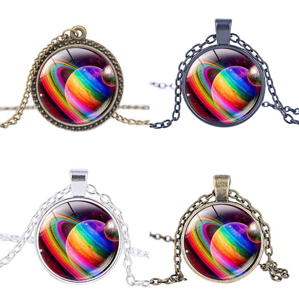 New Design Personality Antique Vintage Rainbow Planet Pocket Necklace Gay Pride Art Jewelry
