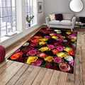 Alfombra decorativa moderna lavable para sala de estar de microfibra antideslizante con estampado 3d de rosas rojas anaranjadas blancas y amarillas