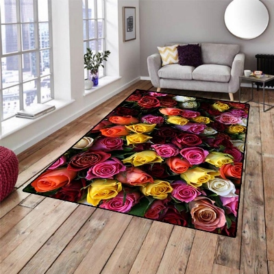 Else Red Orange Yellow White Roses Flowers 3d Print Non Slip Microfiber Living Room Decorative Modern Washable Area Rug Mat
