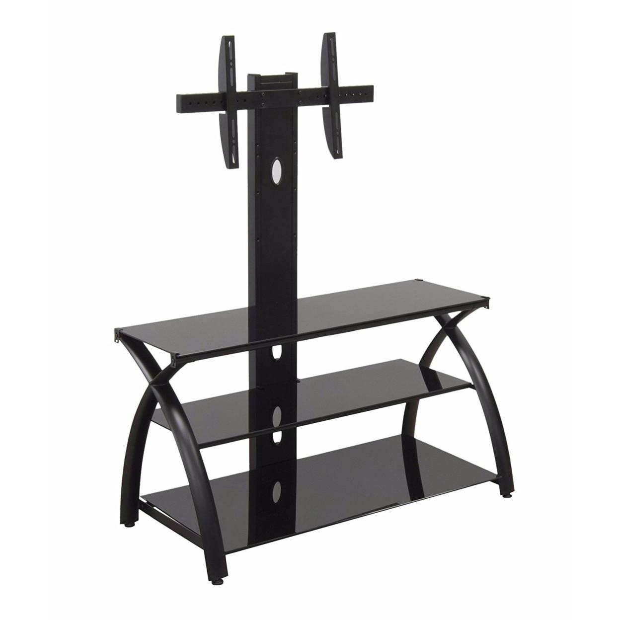 купить Offex Home Office Futura TV Stand with Tower Glass - Black/Black недорого