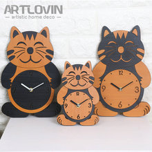 Lovely Cat Wall Clock Christmas Decorations for Home Slient Digital Kids Wall Clock 3D Modern Creative Animal Cartoon Designs