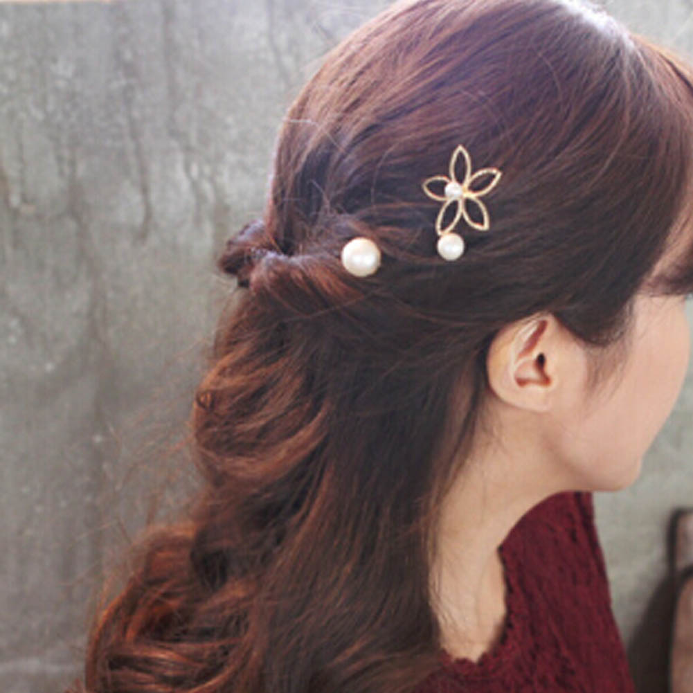 hollow  Hairpin Flower With Five Petals Three Piece Word Clip Clip Hairpin Top Beautiful For Women HDR0426