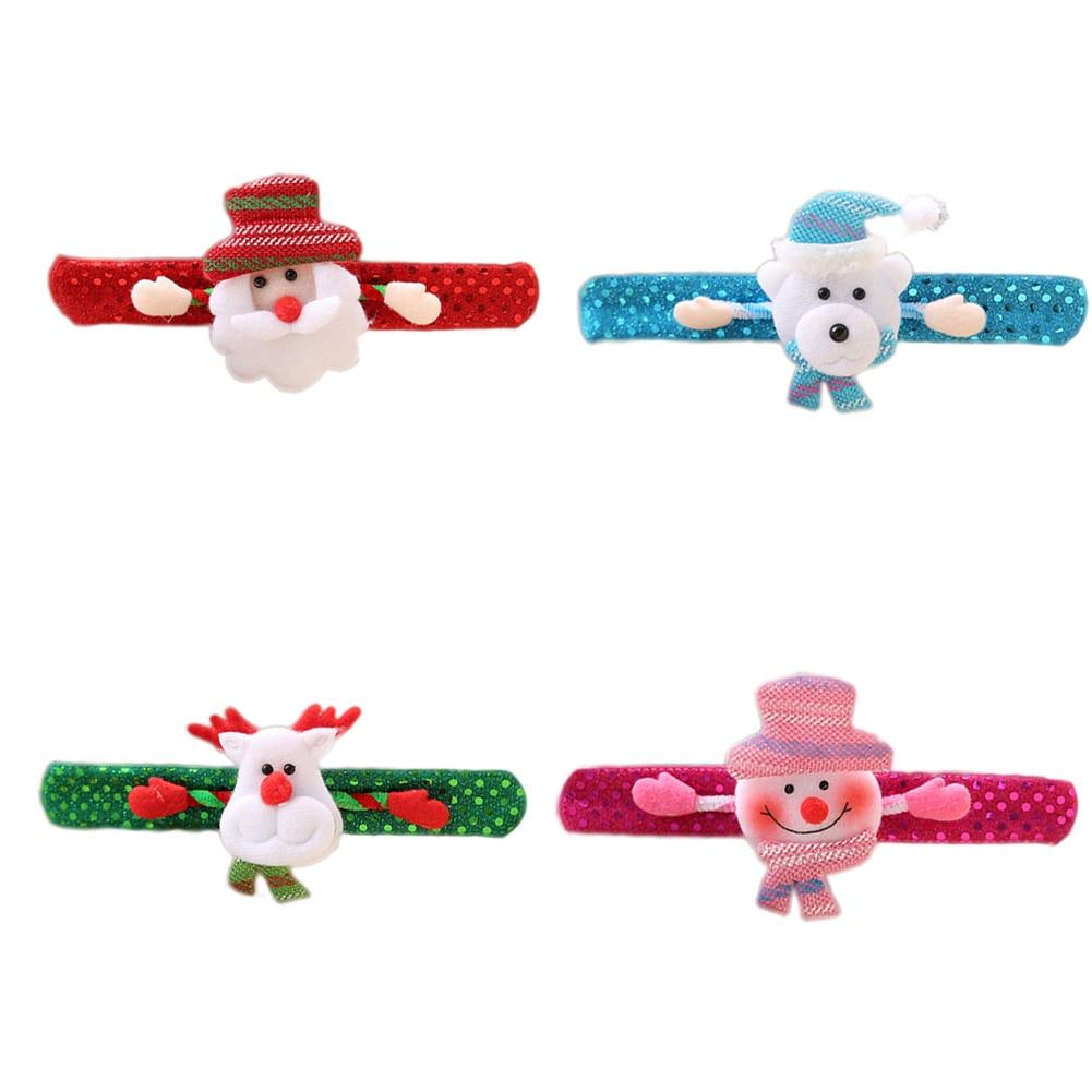 1PC Merry Christmas Novelty Christmas Slap Bracelet Christmas Tree Decor Pat Pat Circle Hand Ring Children Gift Toys
