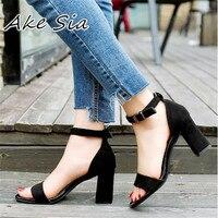 2018 Ankle Strap Heels Women Sandals Summer Shoes Women Open Toe Chunky High Heels Party Dress
