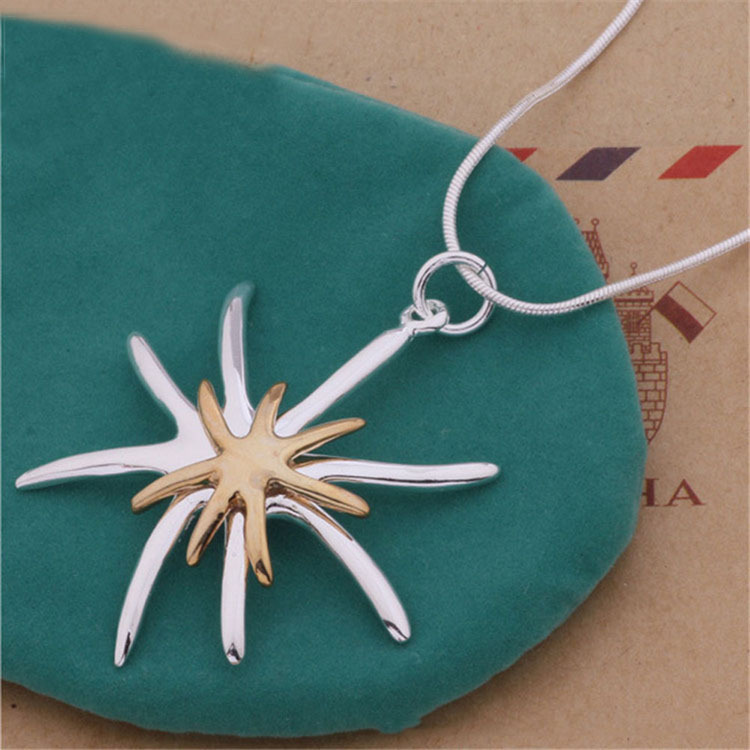 Valentines Day Gift Jewelry For Women Beautiful Separation Starfish Pendant Necklace Color Silver COLOR