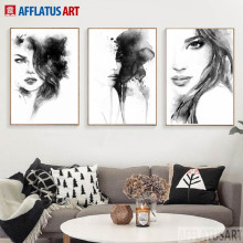 AFFLATUS Nordic Style Black White Women Painting Canvas Wall Art Print Poster Pictures For Living Room Home Decor