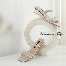 BHS 901163 Chic Square Toe 3.5CM Heels Sliiper Genuine Leather Stylish Sandals Sheepskin Fashion Women Shoes Party Wedding