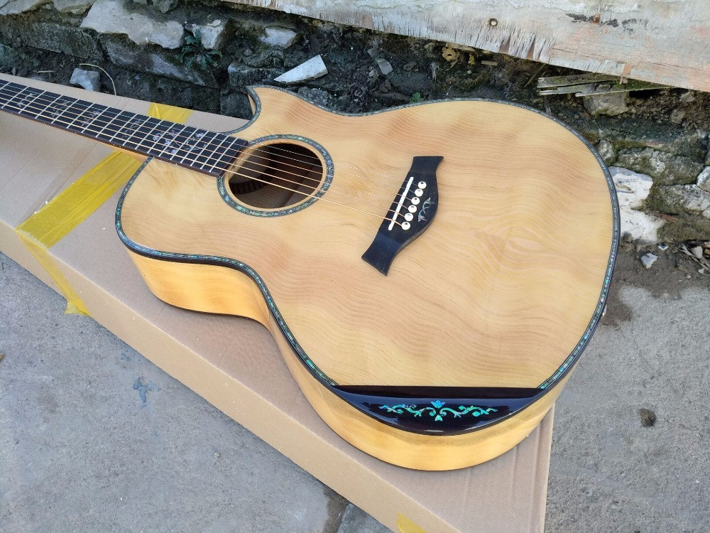 купить free shipping AAAA handmade all Solid single cut guitara 14 frets imported wood armrest GA acoustic electric guitar онлайн