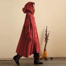 ZANZEA Для женщин с капюшоном Пуговицы открытым Повседневное Свободные длинное платье Зима Весна более Размеры D Карманы Хлопок Кафтан Vestido плюс Размеры M-5XL