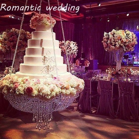 Романтический свадебный прозрачные кристаллы для люстры стиль драпировка приостановлено торт качели стенд