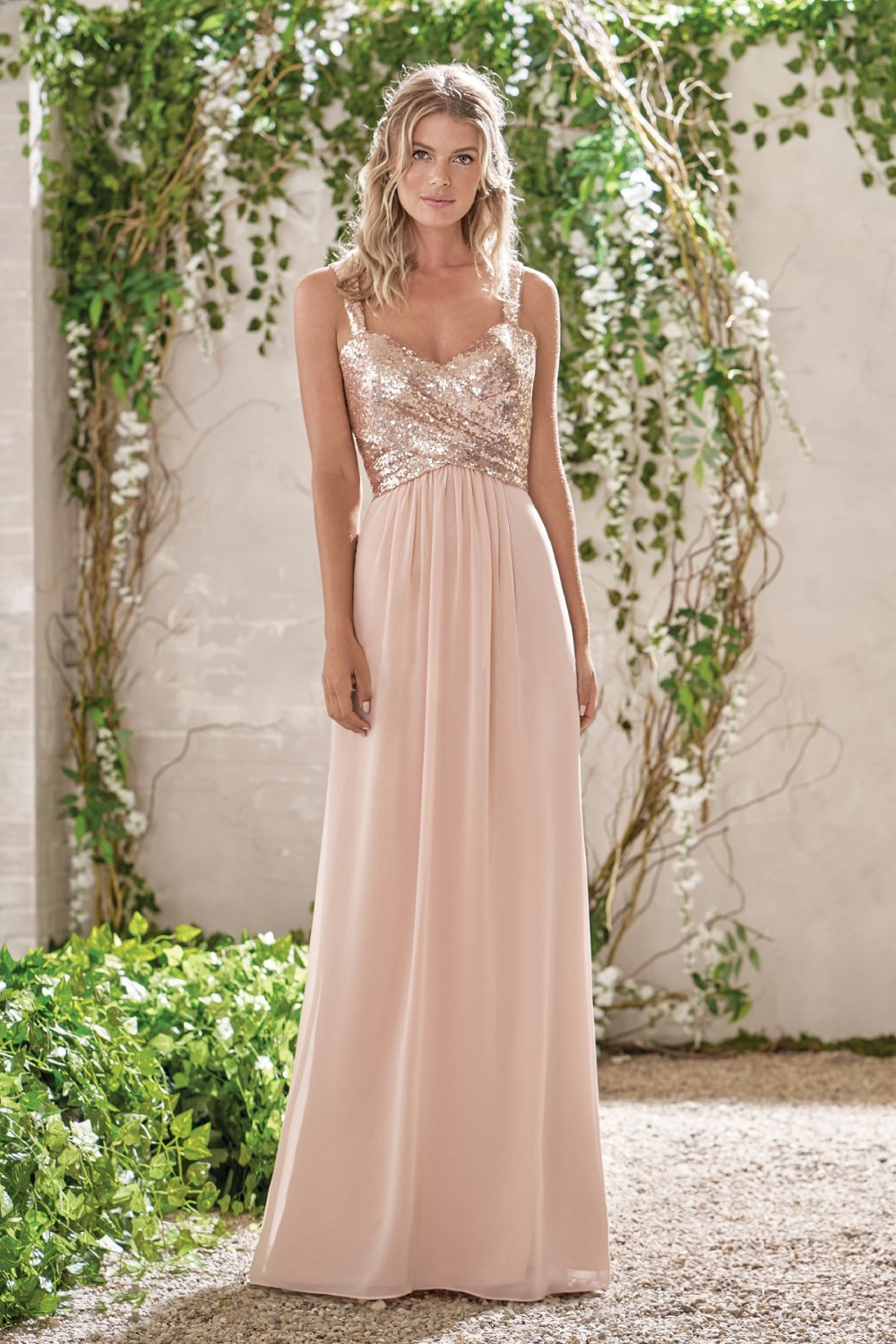 Pink A Line Spaghetti Straps Backless Sequins Chiffon Maid Of Honor Bridesmaid Dress