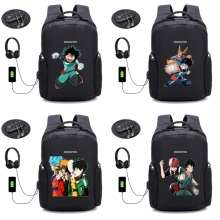 My hero academia online anime backpack Boku no Hero Anti-theft USB Travel Rucksack