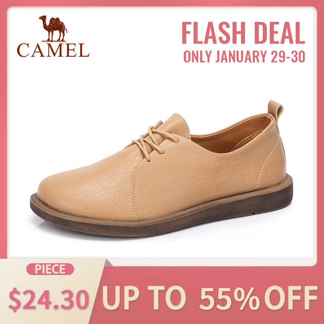 CAMEL Women Retro Casual Single Shoes Woman 2019 New Soft Genuine Leather Low Pumps Oxford Shoes British Style Shoes For Ladies
