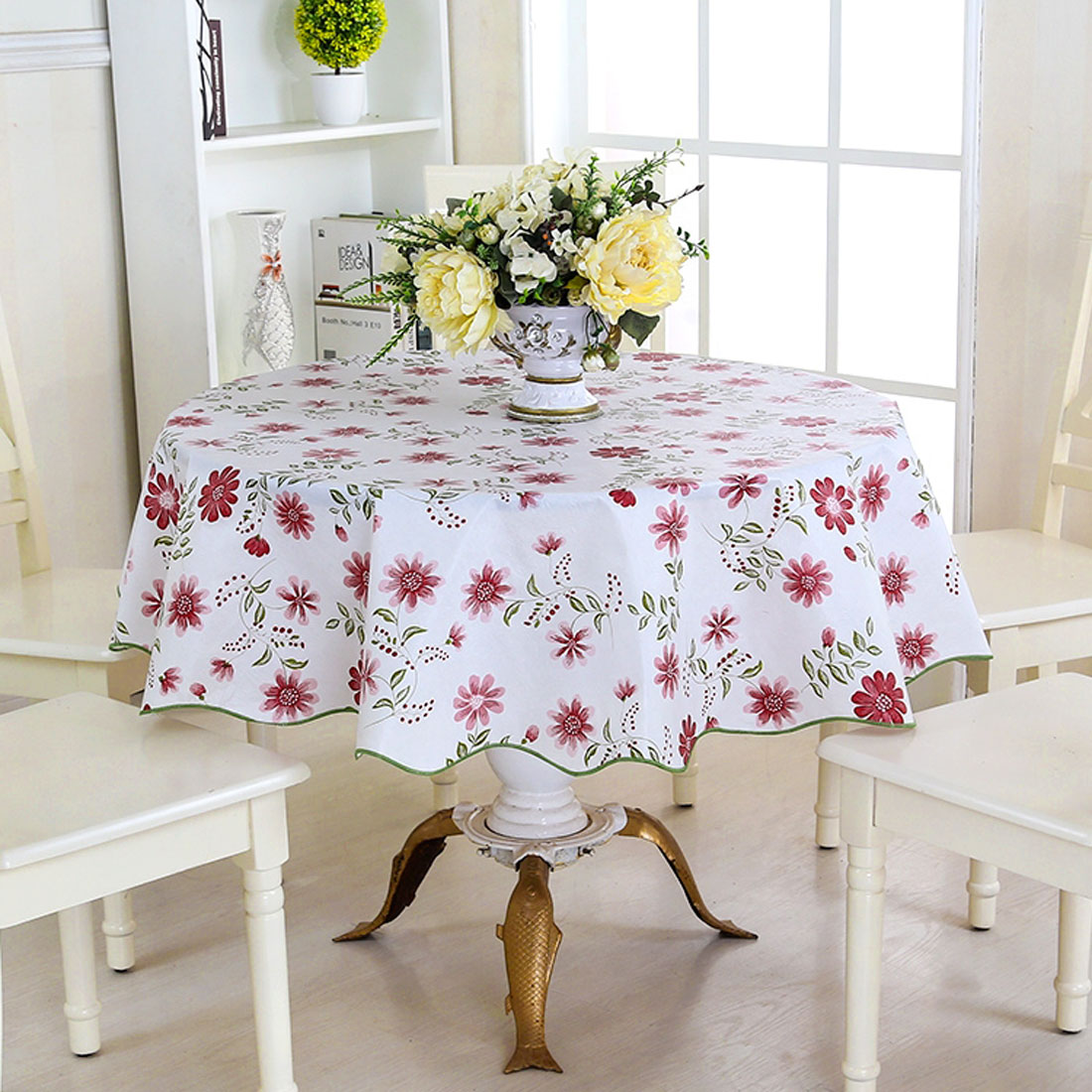 Superb UXCELL Home Picnic Round Nine Petals Flower Pattern Water Resistant Oil Proof  Tablecloth Table