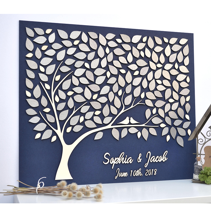 Unusual Wedding Guest Book Ideas: Custom 3D Wedding Guest Book Personalized Tree Guestbook