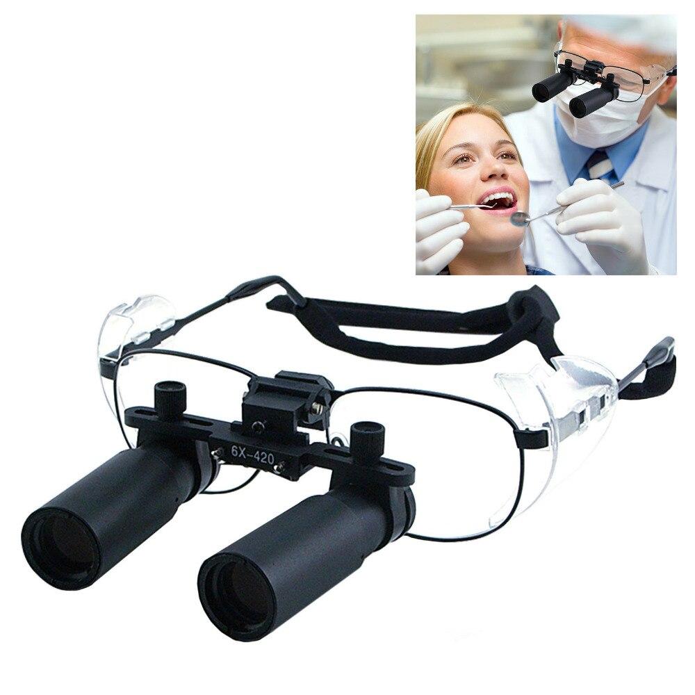 6.0x Grossissement Dentaires Loupes 45mm Champ de Vision Flip-Up Flexible Optical Glass Loupe Dentisterie 25mm Profondeur de Domaine Loupe