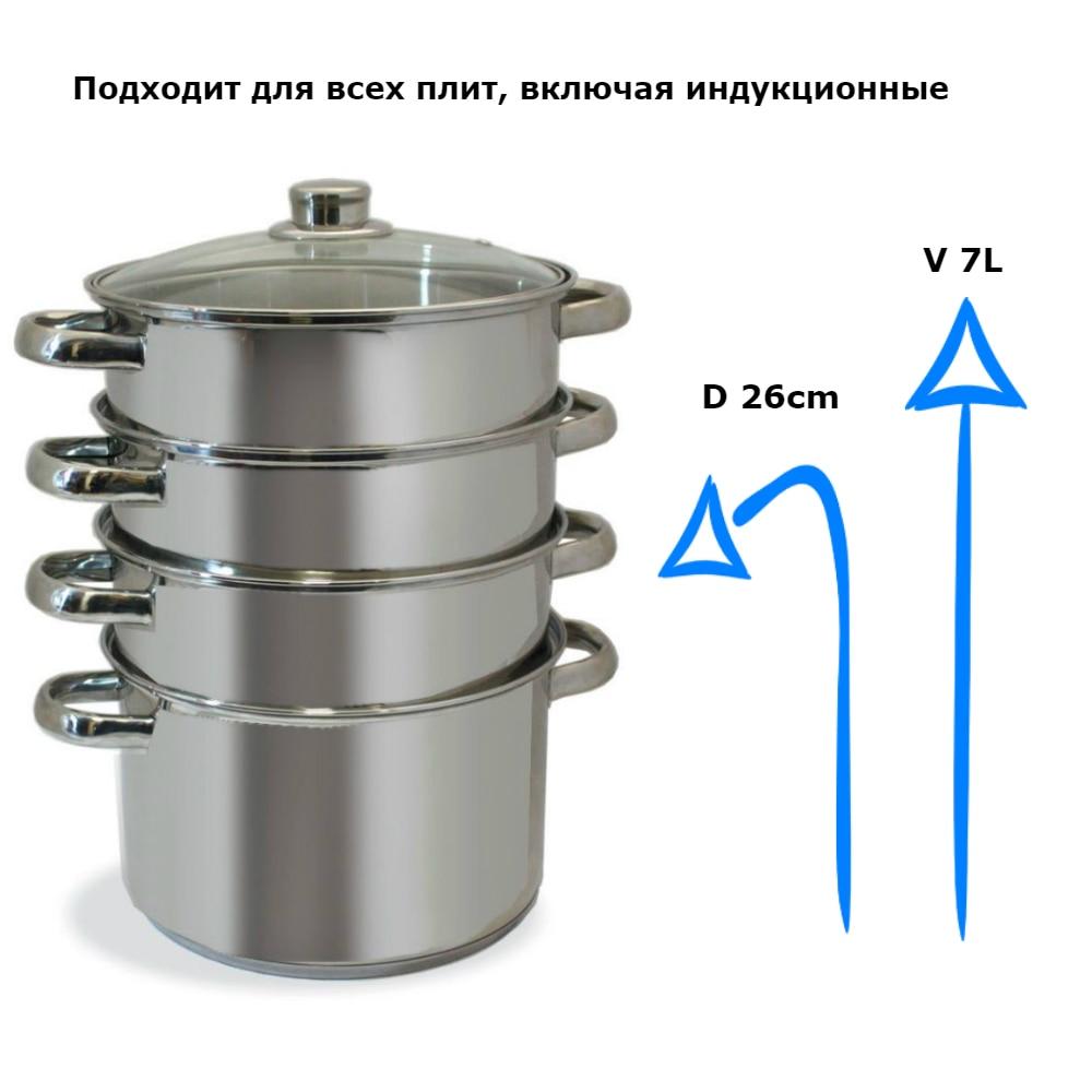 цена на Soup pot 304 Mantovani stainless steel bottom induction cooker universal saucepan with large capacity M-3