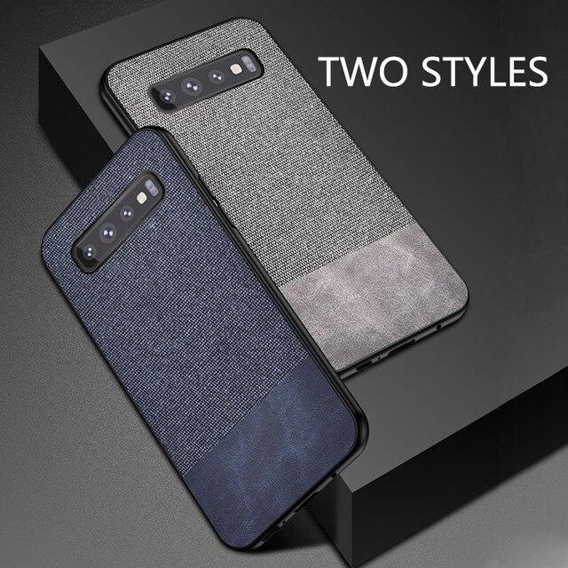 Da Vải Texture Cover Quay Lại Điện Thoại Trường Hợp đối Với Samsung Galaxy S10 Cộng Với Trường Hợp Siêu Mỏng đối với Samsung S10E S7 S8 s9 Cộng Với Lưu Ý 8 9