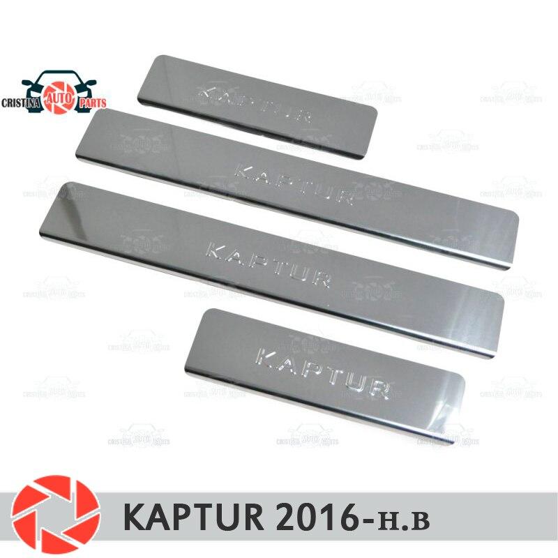 Seuils de porte pour Renault Kaptur 2016-marchepied plaque garniture intérieure accessoires protection éraflure décoration de style de voiture