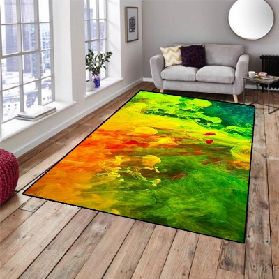 Else Green Yellow Orange Watercolor 3d Pattern Print Non Slip Microfiber Living Room Decorative Modern Washable Area Rug Mat