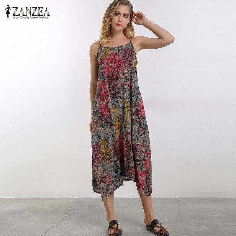 ZANZEA Women Summer Sleeveless Vintage Floral Print Cotton Linen Mid-Calf Dress 2018 Slip Dress Vestido Beach Party Sundress