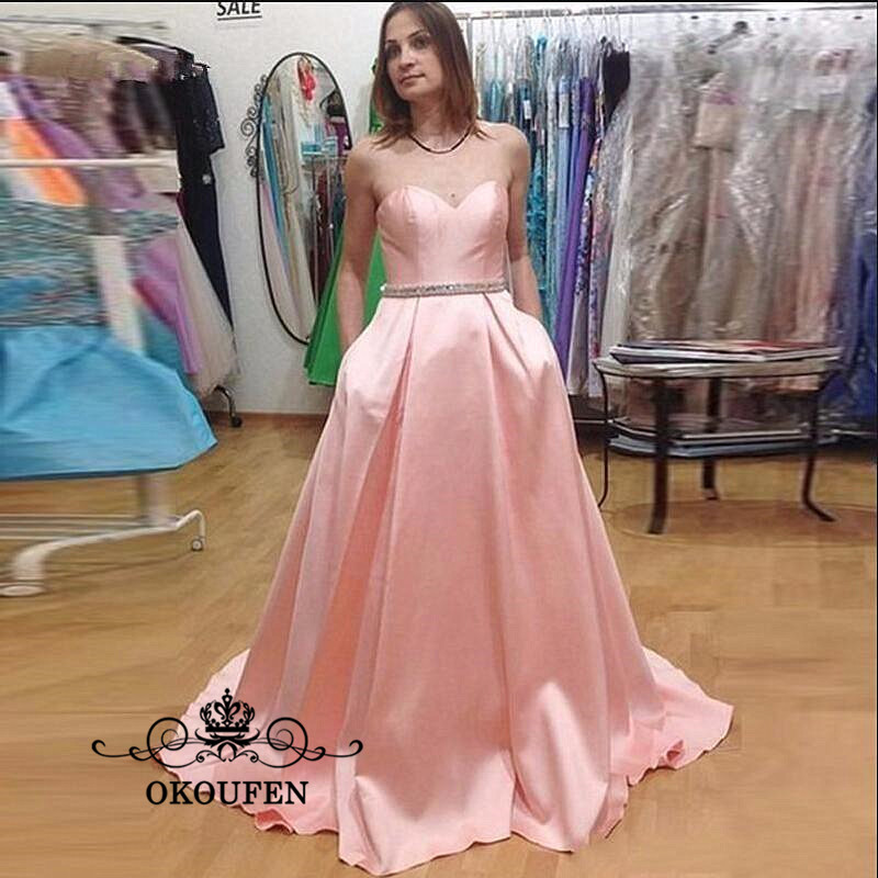 2018 Light Pink Stretchy Satin   Bridesmaid     Dresses   With Beading Waist Sweetheart Long A Line Maid Of Honor Prom   Dress   For Women