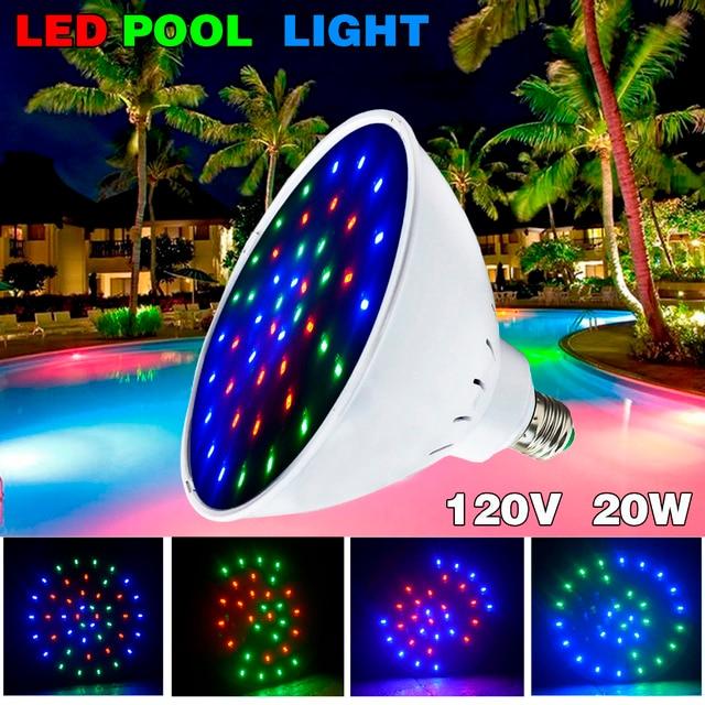 2pcs 120v 20w Color Changing Led Pool Light Bulb For Inground Pool