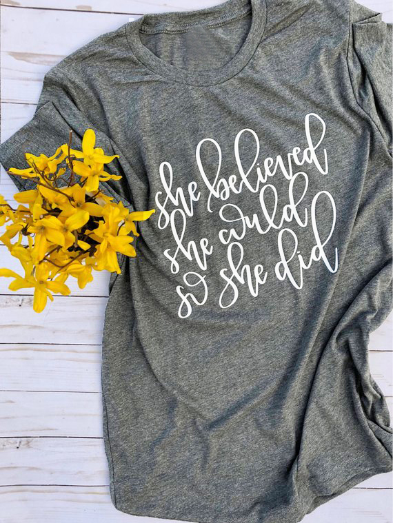 Elle A Cru Pouvoir Ce Qu'elle fit Shirt Christian Bible Verset Chemise Crois Que Les Femmes mode de slogan t-shirts grunge tumblr top t-shirt
