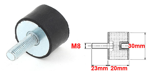 UXCELL 30Mm X 20Mm M8 Male Female End Rubber Vibration Mount Isolator Damper Dowel For Air Compressor Water Pump Refrigerator in Dowel from Home Improvement