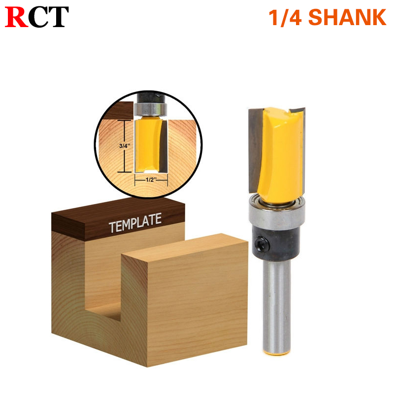 1pc Flush Trim 1/2 W x 3/4 H Router Bit Shank Bearing 1/4 Shank Woodworking cutter Tenon Cutter for Woodworking Tools RCT 6pc 1 4 shank high quality round over router bit set 1 2 3 8 5 16 1 4 1 8 radius tenon cutter for woodworking tools