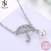 INALIS 925 Sterling Silver Necklace Pearl Zircon Umbrella Pendant Necklace For Women Girl Female Jewelry Wedding