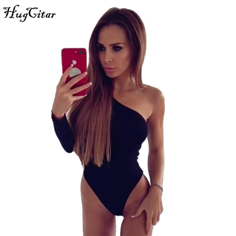 Hugcitar Cotton One Shoulder Slope Neckline Bodysuit Single Long Sleeve Autumn Women Sexy Black Solid Swimsuit  Female