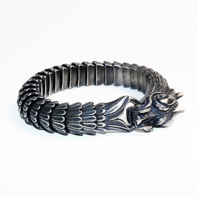 Vintage Dragon Bracelet For Men Stainless Steel Chain Punk Men Jewelry High Quality 22cm Bracelet With Lobster Clasps VB807 opk biker stainless steel men bracelet