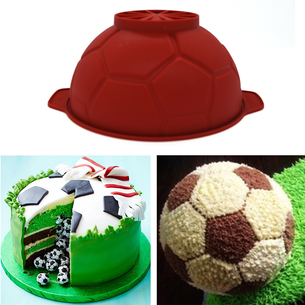 Football Kuchen 1pc Football Soccer Shaped Silicone Cake Mold Diy Chocolate Mousse Mould Pastry Tools Bakeware Fondant Mold Cake Decorating Tool