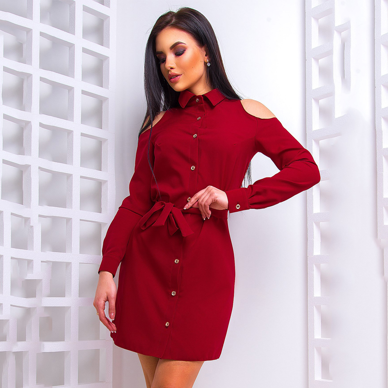2018 Spring New Fashion Women Shirt Dress Casual Long Sleeve Off Shoulder Loose Dresses Ladies office work dress vestidos-in Dresses from Women's Clothing & Accessories on Aliexpress.com | Alibaba Group